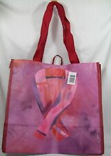 Large Bloom Pink & Red Reusable Shopping Grocery Tote Bag Pink Ribbon *New
