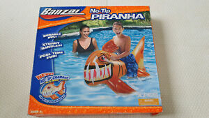 Inflatable Banzai No Tip Piranha Fish Ride on Pool Toy New In Box