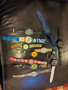 VINTAGE SWATCH WATCH LOT OF 12 THEY ALL WORK GOOD, NEED BANDS AND BATTERY