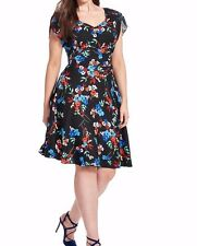 City Chic Fall Garden Sateen V Neck A Line Dress Size Large