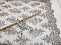 Mesh lace fabric Corded Flowers Embroider With Sequins Silver by the yard.