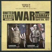 Canouan Gren St Vincent 2014 MNH WWI WW1 US Declares War Germany 2v S/S Stamps