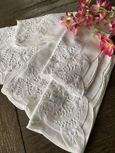 Vintage White Cotton and Battenburg Lace Napkins Set of 6