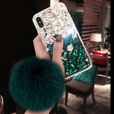 3D Luxury Fur ball pendant bling diamonds crystal rhinestone phone case cover H1