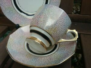Vintage Plant Tuscan China Rainbow Gold fine floral teacup Trio 5802A