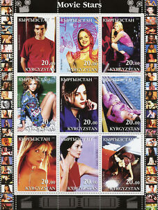 Kyrgyzstan 2001 MNH Movie Stars Antonio Banderas Carrie-Anne Moss 9v M/S Stamps