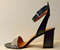 Coach Heel Sandals Paige Land Snake/ Mat Calf Black- White /Black Q8998 Size 9
