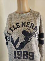Disney Women's Little Mermaid Sweatshirt Gray Blue Size Small 1989