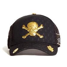 Red Monkey Skull & Cross Bones 18k Gold Black Snapback Cap Hat RM1239