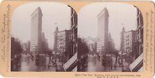 New York Flat Iron Broadway USA Etats-Unis Photo Stereo Vintage Citrate