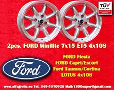 2 cerchi FORD LOTUS TALBOT Minilite 7x15 ET5 4x108 Wheels Felgen Llantas Jantes