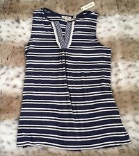 NWT MAX STUDIO WOMENS EMBROIDERED KNIT CAMI TANK TOP SHIRT TUNIC BLOUSE XS