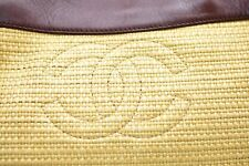 Authentic Vintage CHANEL Straw Beach Tote Purse Woven Large Brown Leather COA
