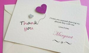 10 Handmade Personalised Birthday Thank you gift Cards  free envelopes