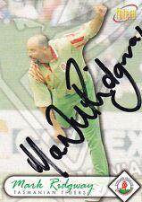 Mark RIDGWAY SIGNED Tasmanian Tigers Mercantile Mutual ACB cricket card