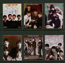 The Beatles MNH Conjunto De 6 Sellos + Etiqueta Lennon Mccartney Ringo George