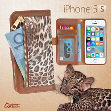 Leopard Zip Wallet Bag ID Card Flip Leather Case Cover For iPhone 5s 5c 6s Plus