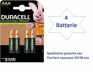 4 batterie ricaricabili AAA Ministilo 900 mAh  LE PIU' POTENTI DELLA DURACELL