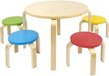 Holz Runder Kindertisch mit 4 bunten Stühle - Naturholz - Tisch Kinderstuhl
