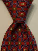 LANCEL PARIS Men's 100% Silk Necktie ITALY Luxury Geometric Red/Blue/Green EUC