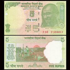 India 5 Rupees, 2001-2011, P-88A, UNC