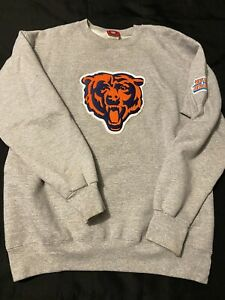 Chicago Bears NFL Gray Pullover Sweater With Super Bowl Patch Mens Size M