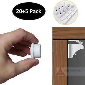Invisible Magnetic Baby Child Pet Proof Cupboard Door Drawer Safety Lock (20+5)