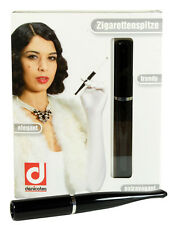 Denicotea Cigarette and Filter Holder - Black with Silver Toned Band (20260)