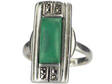 Art Deco 835 Silber Theodor Fahrner Malachit Markasit Damen Ring!
