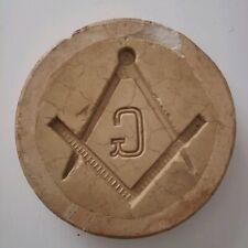 Freemason square and compasses symbol stone mold paperweight vtg rare masonic