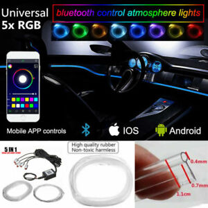 RGB 5 LED Car Door Dash Ambient Light 6m Neon Strip Sound Beat Phone APP Control