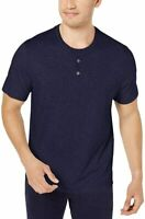 Tasso Elba Mens Shirt Navy Blue Size Small S Layered-Look Henley $34 #111