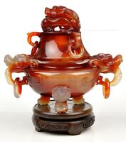 Carnelian / Red Agate Chinese Dragon Censer / Incense Carving Sculpture / Statue