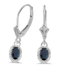 14k White Gold Oval Sapphire And Diamond Leverback Earrings