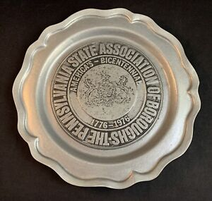 Vintage 1976 The Pennsylvania State Association of Boroughs Pewter Plate