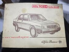 USO E MANUTENZIONE ALFA ROMEO 90 2.4 turbo diesel auto automobile 1984 libretto