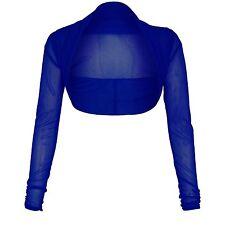 New Womens Sheer Mesh Chiffon Bolero Shrug Long Sleeve Crop Cardigan Tops