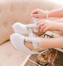 Lolita Princess Women Wedge HeelsPlatform Girl Lace Mesh Pumps Shoes UK Size