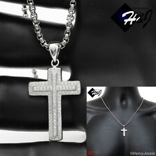 "MEN WOMEN 925 STERLING SILVER ICED OUT CROSS PENDANT+20""X2MM BOX LINK CHAIN*SP23"