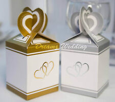 Sample Gold/Silver Wedding Cake Favour Boxes, Anniversary, Engagement x 1 Pair