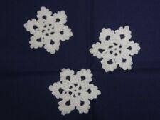 3 x HANDMADE CROCHET SNOWFLAKE CHRISTMAS DECORATIONS / APPLIQUES