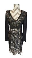 Kessley Dress Black Gray Floral Lg Pattern Distressed V-Neck Ruffles Long Sleeve