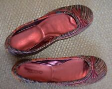 Aldo Ballet Flats Slip On Shoes Slippers Burgundy Multi-Color Canvas Size 6