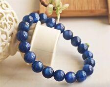 9.5mm Natural Blue Kyanite Crystal Cat Eye Beads Stretch Bracelet AAA