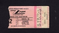 Original 1986 Zz Top Jimmy Barnes concert ticket stub Omaha Afterburner Tour