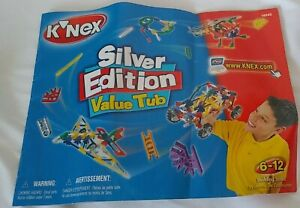 K'Nex Silver Edition Manual Instructions Booklet Pamphlet helicopter motorcycle+