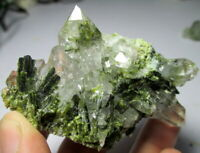 498 CT Very Beautiful Quartz with Epidote Bunch Epidote Also INSIDE the Quartz