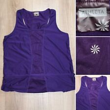 ATHLETA Racerback Purple Layered Drawstring Back Pocket Yoga Tank Top Sz Medium