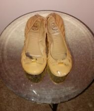 TORY BURCH 'Eddie' Ballet Flats Nude Tan Camel Patent Leather Bow Womens SZ 6M