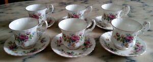 Royal Albert Moss Rose Servizio 6 tazze tazzine caffè porcellana inglese